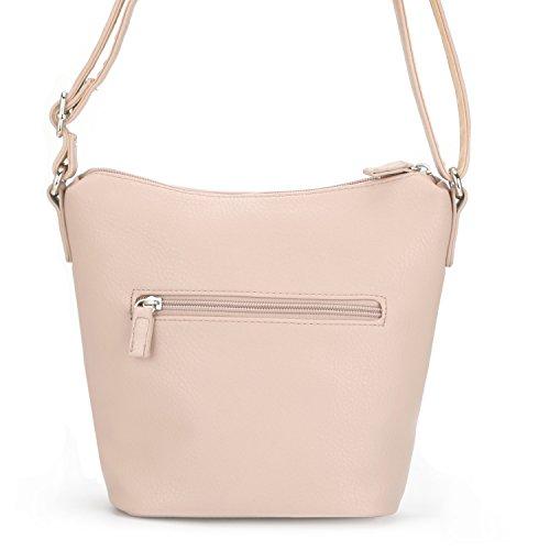 David Jones - Damen Vintage Umhängetasche Reißverschluss Viele Taschen Handtasche - Kunstleder Schultertasche - Kleine Tasche Klassisch Retro Stil - Alltage Reise Handy Praktisch Eifach - Weiß Pink Rosa