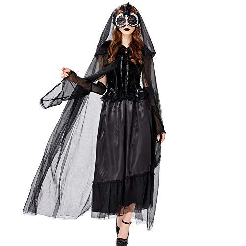 Für Erwachsene Dunkle Kleid Kostüm Zauberin - LEGOU Erwachsene Frau Halloween Geheimnisvolles HexenkostüM Mit ÄRmel Und Mantel,Vampir Dunkle Braut,Party-Rollenspiel,Karneval BüHnenkostüM KöNigin Kleid,Vier GrößEn,S