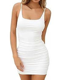 fa25a78d4c Vestidos Mujer 2018 EUZeo Sexy Tirantes Espalda Abierta Flaco Vestido  Casual sin Mangas Largo de Mujer