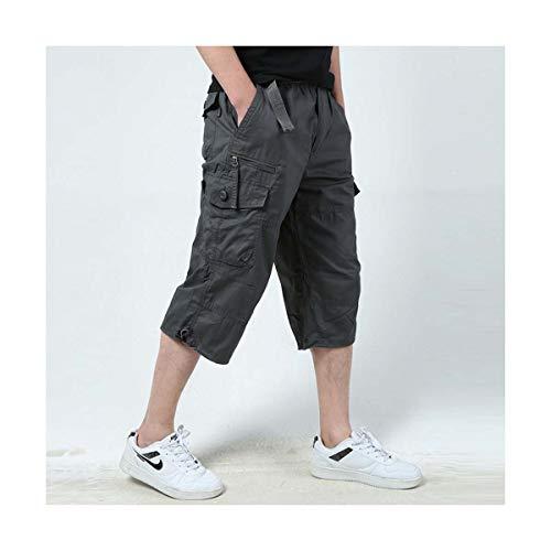 Summer Men's Baggy Multi Pocket Zipper Cargo Shorts Breeches Male Long Army Green Khaki Men Tool Work Short Bermuda Big Size 5XL Dark Grey 5XL Fit Breeches