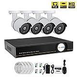 IMATEK Sistema de vigilancia de casa 1080P,4CH PoE NVR Kit w / 4PCS 1080P Cámaras IP a Prueba de Balas,Sistema de monitoreo Remoto del hogar,NO HDD