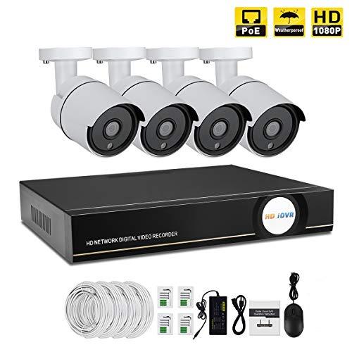 IMATEK Hausüberwachungssystem 1080P, 4 Kanäle PoE NVR Kit w / 4PCS 1080P Wetterfeste Kugel IP-Kameras, Fernüberwachungssystem(Keine Festplatteninstallation) - Ip-kamera-kit