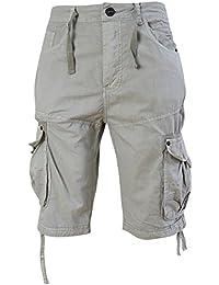 Hommes Crosshatch Oprah Sergé Boutonné Short Militaire Longueur Genou Pantalon Combat
