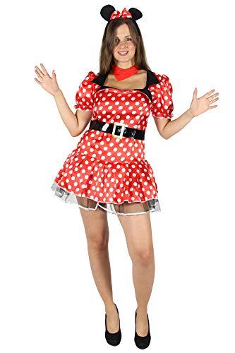 Foxxeo Sexy Comic Maus Kostüm für Damen mit Kleid und Ohren Faschingskostüm Karnevalskostüm Größe XL