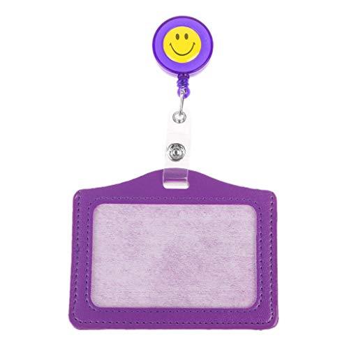 JERKKY Lächeln Business Credit ID Abzeichen Kartenhalter Geldbörse Retractable Reel Clip Geschenk Lila -