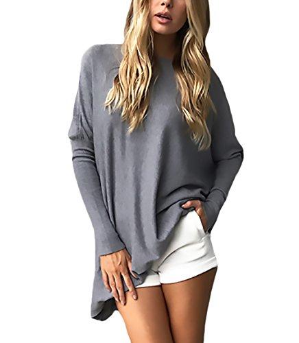 Femme T Shirt Manches Longues Col Rond Chic Simple Couleur Unie Elégante Young Mode Casual Automne Hiver Mi Longues Sport T-Shirts Tunique Blouse Chemisiers Top Grande Taille Gris