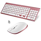 FENIFOX QWERTZ Tastatur Maus Set Kabellos Wireless Keyboard Mouse 2,4 GHZ Funk Mit USB, Flüsternd Key, für Computer PC Laptop Passend für Büro, Haus, Publikum- Roségold