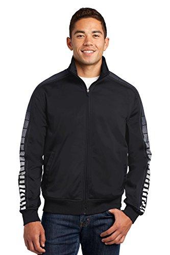 Sport-Tek® Dot Sublimation Tricot Track Jacket. JST93 Black/ Iron Grey 4XL Sports Track Jacket