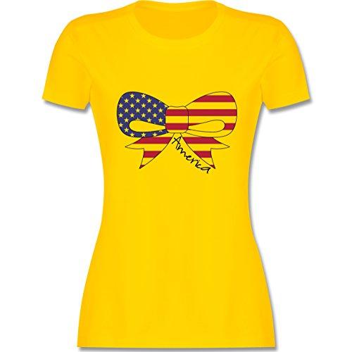 Kontinente America Schleife tailliertes Premium TShirt mit  Rundhalsausschnitt für Damen Gelb