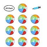 SUNSHINETEK 10 Pack Beach Balls 10 Pollici Gonfiabile Piscina Arcobaleno Palle da Spiaggia per Pool Party Giocattoli da Spiaggia (con Pompa ad Aria della Mano)