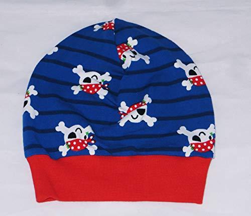 Beanie Mütze KU 47-50 Piraten Totenkopf blau rot