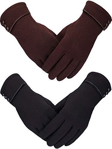 Sumind 2 Paar Damen Winter Handschuhe Warmer Plüsch Handschuh Gefüttert Winddicht Handschuhe für Damen und Mädchen (Schwarz, Braun)