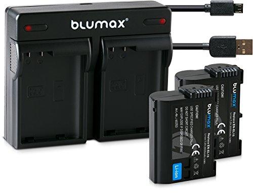 Blumax 2X Akku 2000mAh für Nikon EN-EL15/EN-EL15a + Mini Dual-Ladegerät USB für D7500 D850 D7200 D500 D7000 D750 D610 D810e D7100 D600 D800 D810 Nikon 1 V1