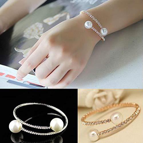 ypypiaol Mode Einreihige Strass Eingelegte Faux Perle Eröffnung Armband Frauen Einfache Casual Schmuck golden (Leder-bereitstellung Uhrenarmbänder)