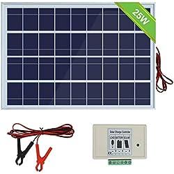 ECO-WORTHY Système de panneaux solaires 12V 25W: Panneau photovoltaïque polycristallin 1pc 25W avec pinces pour batterie 3 fils et 30A avec câble d'extension de 6 pieds & Module solaire 3A 12V / 24V