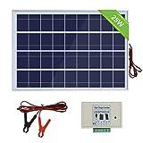 ECOWORTHY Panneau solaire 12V 25W: Panneau photovoltaïque polycristallin 1pc 25W avec pinces pour 3 fils et 30 A avec câble d'extension de 6 pieds et module solaire 3A 12V / 24V...