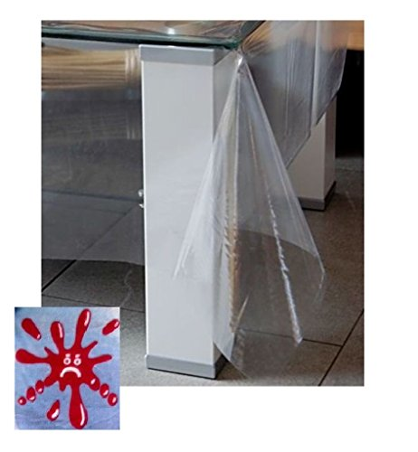 durchsichtige tischdecken TISCHDECKE 110 x 160 cm eckig Schutzdecke WASSERDICHT abwaschbar transparent Klarsicht Folie Garten Balkon Küche Esszimmer (110x160 cm)