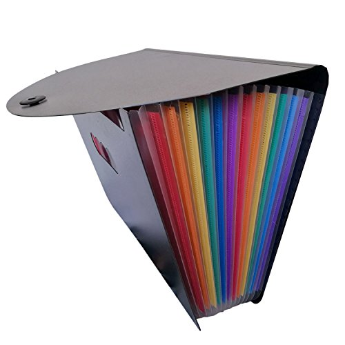 Ordner Datei-erweiterung (Datei-Organizer Expanding ,BEETEST Portable 12 Taschen Regenbogen Dokument Ordner Erweiterung Datei Organizer Halter für Home Office Schule)