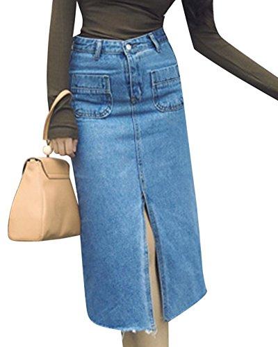 Mujeres Vintage Cintura Alta Midi Falda De Mezclilla Jean Con Bolsillos Azul Claro S