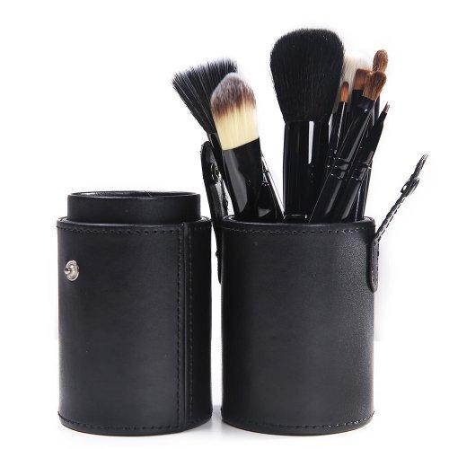 Lychee Beauté 12 Pinceaux de Maquillages Pro pour Femme kit d'Accessoires Cosmétiques avec Coupe en cylindre (Noir)