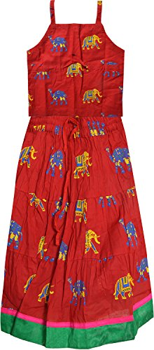 Decot Paradise Girls' Animal Print Lehenga Choli Suit (KID114, Red, 2-3 Years)  available at amazon for Rs.249