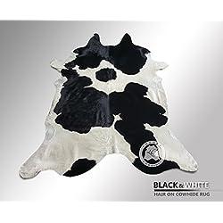 ALFOMBRA DE PIEL DE VACA Negro y Blanco 180 x 210 cm – Calidad Premium de PIELES DEL SOL