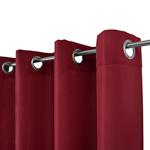 Beautissu Blickdichter Ösen-Vorhang Amelie – 140×175 cm Rot Uni – Dekorative Gardine Ösenschal Fenster-Schal - 2
