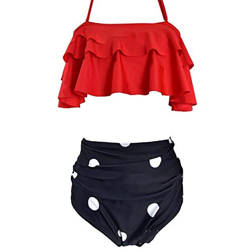 Voiks Women Bikini Sets High Waisted Halter Swimsuits Flounce Ruffled 2 Pieces...