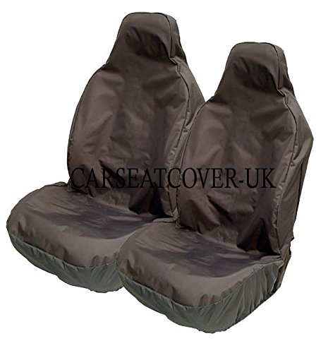 Heavy Duty Black Waterproof Car Seat Covers - Front Pair (Airbag Friendly)