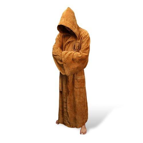 Star Wars Krieg der Sterne Jedi Deluxe Bademantel mit eingesticktem Jedi Logo braun (Frauen Jedi Kostüme)