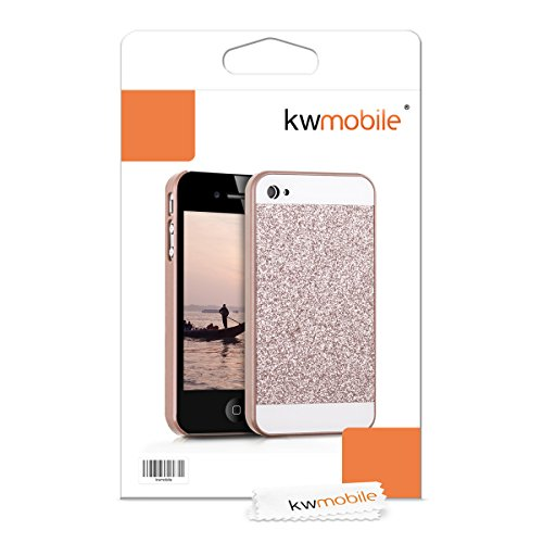 kwmobile Étui rigide Design Keep Calm Call Batman pour Apple iPhone 4 / 4S en jaune noir rectangle à paillettes doré-rose blanc