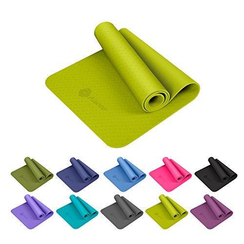 Aisoco Premium TPE Yoga Mat Pilates Mat - Ecológico, Antideslizante - con Bolso y Correa de Transporte