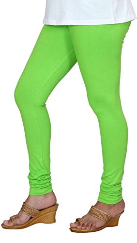 Anaro V-cut solid premium four way stretchable cotton lycra green churidar leggings...