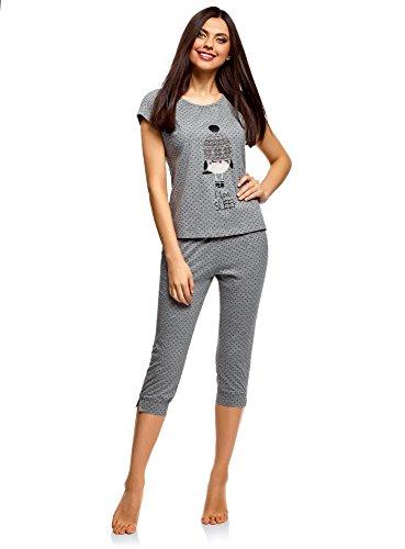 oodji Ultra Damen Schlafanzug mit Capri-Hose und T-Shirt mit Aufdruck, Grau, DE 40 / EU 42 / L (Set Capri-baumwoll-pyjama)