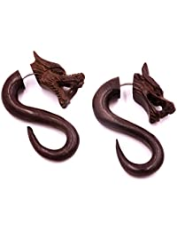 Falso Dilatador Pendientes Dragon Piercing madera par marrón hombre mujer mixta étnica Gauge Expander Wood Wooden