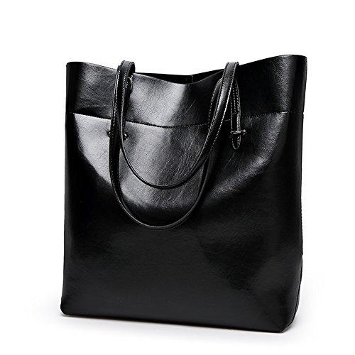 PB-SOAR Damen Shopper Handtasche Henkeltasche Schultertasche aus PU Leder 30x35x11cm (B x H x T) (Schwarz) Schwarz