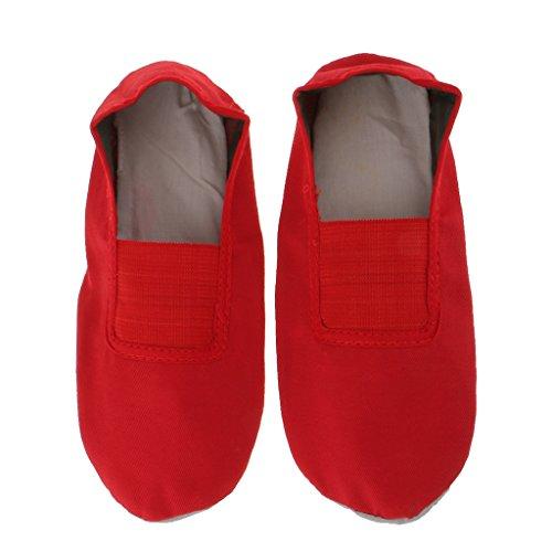 Kinder ballett schuhe Tanzgymnastik Leinwand Slipper Schuhe Spitzenschuhe Rot