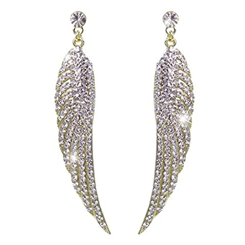 EVER FAITH® Austrian Crystal Angel Wing Dangle Earrings Clear Gold-Tone A13220-12