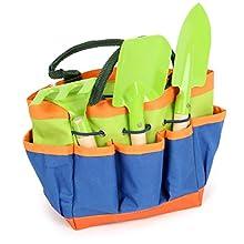 Small Foot 12015 Gartentasche kompakt, aus Holz und Metall, mit 3 Gartenwerkzeugen, Gartenspielzeug für Kinder ab 3 Giocattolo, Multicolore