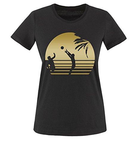 SUN VOLLEYBALL - Einfarbig - Damen T-Shirt Schwarz/Gold Gr. M (Volleyball Mom Shirts)