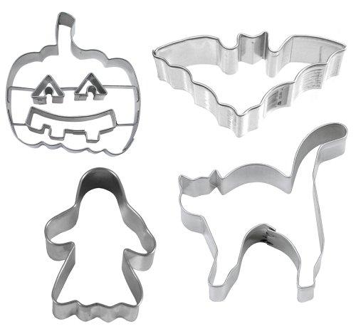 (Caleidolex Ausstechset Halloween 'Spooky 3' Grusel 4er-Set - Fledermaus - Geist - Katze - Kürbis - Keksausstecher - Ausstecher - Ausstechform)