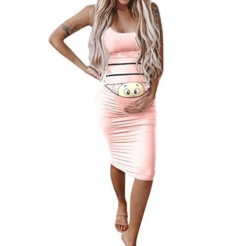 Baby Kostüm Rabatt - Umstandsmode Schwangere Kleider, Umstandsmode Damen Baby Print Lustige Stillen Sommer Casual Sexy Ärmelloses Minikleid Kostüm Mutterschaft Schwangere Mode Sommerkleid