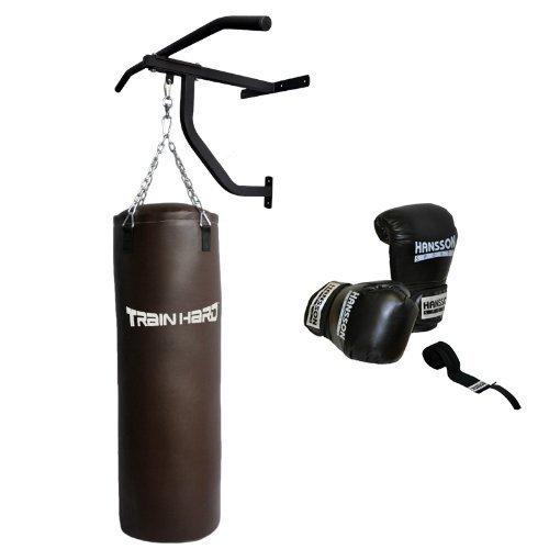 TrainHard-Sacco da boxe sabbia sacco imbottito, 30kg 100cm m. Tutore Supporto da parete & Guantoni da boxe trazioni 14oz