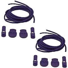 More of Me to Love Streckig Lot de 2 paires de lacets élastiques avec cadenas Violet 100 cm