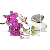 MagiDeal 5 Pedazos Pinturas Cuadro de Lona Arte Mariposa Decoración para Pared - Orquídea #17