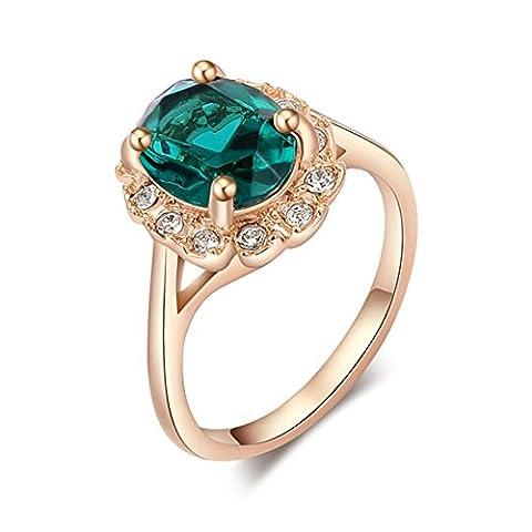 Women's Green Oval Rhinestone Ring Mini Crystal Inlaid Rings Size 6