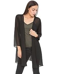 Élégant cardigan transparent noir coupe longue