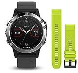 Garmin Fenix 5 - Reloj multideporte, con GPS y medidor de frecuencia cardiaca, lente de cristal y bisel de acero inoxidable, 47 mm, Silver pack 2 correas (Negra y Amarilla fluor)