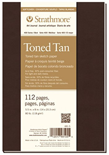 Strathmore Toned Sketch Tagebuch zeigen Wandbild 14 cm x 20,3 cm, Tan 56 Blatt (Us Post Office)