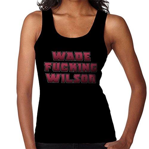 Deadpool Wade Fucking Wilson Typography Uncensored Women's Vest Black